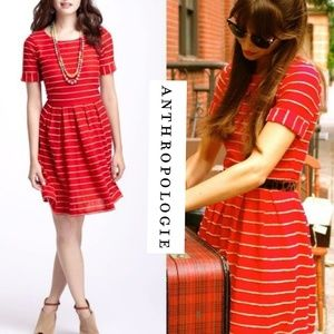 Anthropologie Bordeaux Scalloped Red Dress
